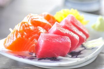salmon sashimi, tuna sashimi,sashimi