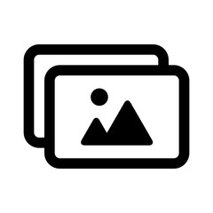 Photo album or picture collection line art icon for apps and websites