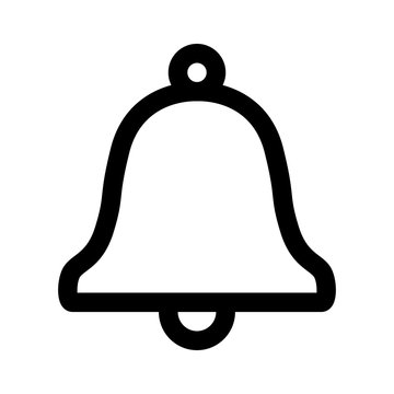 Message notification bell outline flat icon for apps