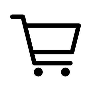 Shopping cart or trolley line art icon for apps and websites