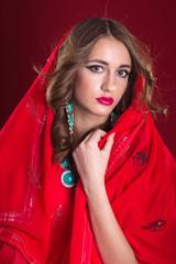 Woman in red sari