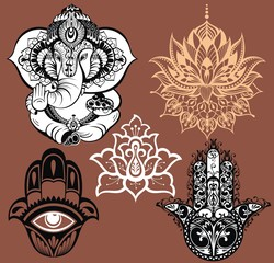 Big set with element of Indian culture. Lotus, chakras, yoga posses. Ornamental elephant and mandalas. Hamsa for luck. Medallion, yoga, india, arabic