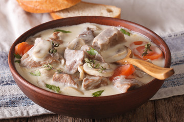 Veal with mushrooms in cream sauce in a bowl. horizontal