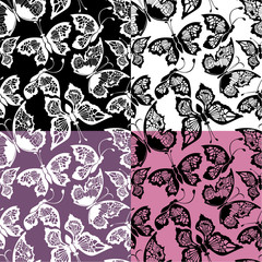 Set of seamless patterns with silhouette butterflies on color, w