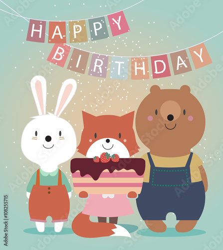 Cute Happy Birthday Card With Funny Animals Bear Hare Fox And