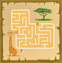 Labyrinth game for children with giraffe. Vector cartoon illustration