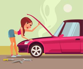 Woman repairing car. Vector flat cartoon illustration