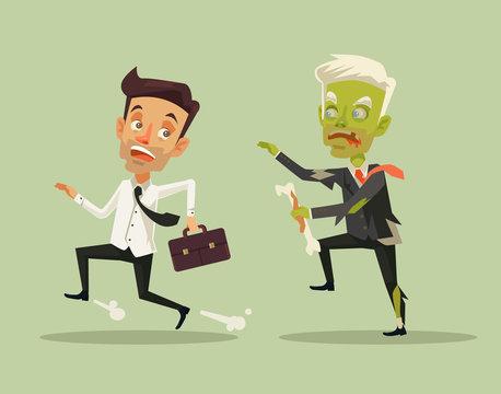 Man escaping zombie. Vector flat cartoon illustration