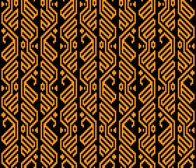 Golden and black ethnic aztec geometric seamless pattern, vector, use for design background, fabric print