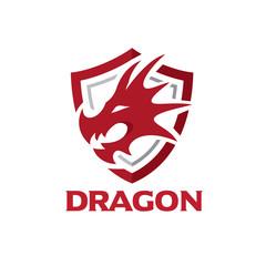 Dragon Head with Shield Logo Template