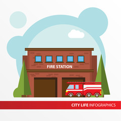 Fire station building icon in the flat style. Emergency fire office. Concept for city infographic.