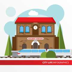 Train station building icon in the flat style. Railway station. Concept for city infographic.