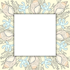 delicate frame with seashells, white sheet