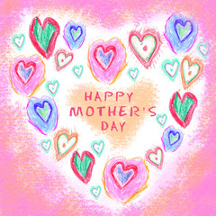 Love background. Hand drawn. Grunge heart. Love heart design. Greeting card. Happy mothers day