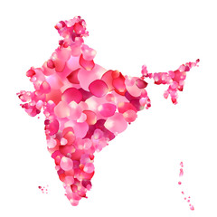India. Silhouette of Indian peninsula map of rose petals
