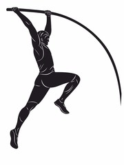 silhouette of a pole jumper , vector drawing