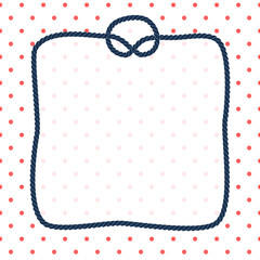 Navy blue rope square frame with a knot on dotted white background, vector