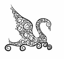 Sketch of floating swan.