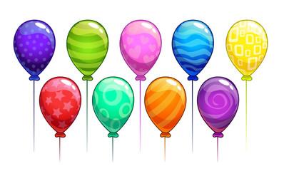 Cartoon vector colorful balloons set