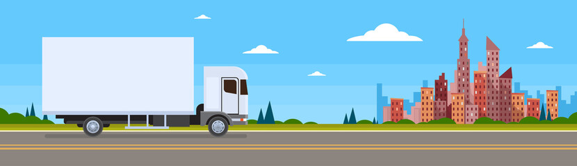 Truck Lorry Car On Road Cargo Shipping Delivery Banner