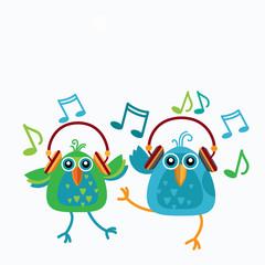 Birds Couple Listen Music Wear Headphones Dancing Notes