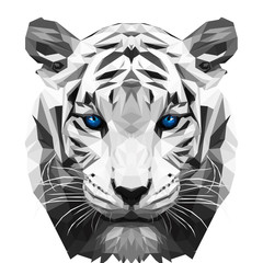 White tiger low poly