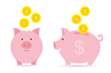Pink piggy bank with falling golden coins in two perspectives.