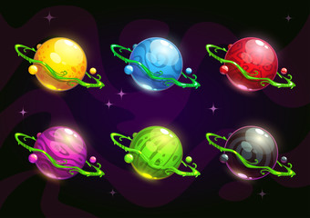 Funny colorful fantasy planets set
