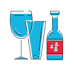 Bottle of wine or other alcohol beverage and glasses . Vector illustration, line syle