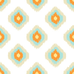 Ikat geometric seamless pattern. Orange and blue colors collection. Indonesian textile fabric tie-dye technique inspiration. Rhombus and drop shapes.