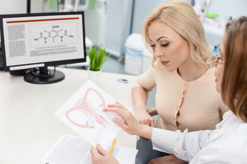 Professional female doctor is consulting blond lady
