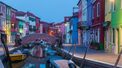 Fototapete - Day to night timelapse on canal in Venice on Burano Island, Italy