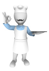 3d chef with empty plate. Ok gesture.