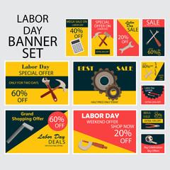 International Labor Day Banner Set.