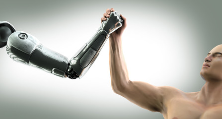 man fights robot hands on the arm wrestling 3D illustration render