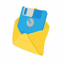 Envelope with floppy disk icon, cartoon style