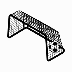 Soccer goal  with ball icon, isometric 3d style