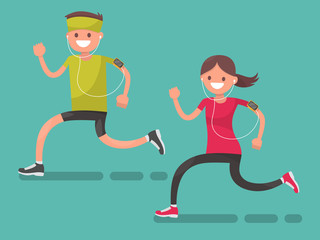Man and woman for a jog