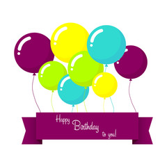 Vector happy birthday card with blue balloons