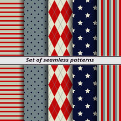 set of seamless patterns red blue