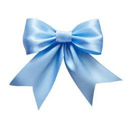 Blue silk ribbon bow