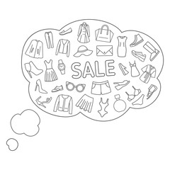 Thoughts about the sale. Thought bubbles about shopping, sale, clothes, shoes, accessories. Line icons on a white background