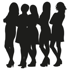 Group of Beautiful Girls Vector Silhouettes