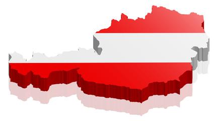 Österreich Land Karte 3D Design mit Flagge