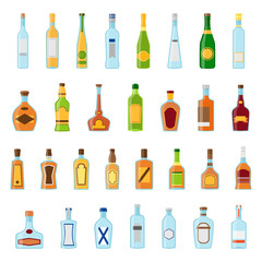 Flat icons set of alcoholic beverages. Alcohol drinks