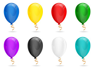 Vector Realistic transparent Balloon vector set. Red, green, blue, yellow, white, black, turquoise, purple color. Isolated on white background