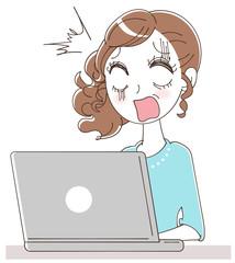 パソコンを見てショックを受ける女性のイラスト