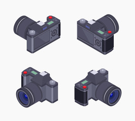 Set of the isometric digital photo cameras. The objects are isolated against the white background and shown from different sides
