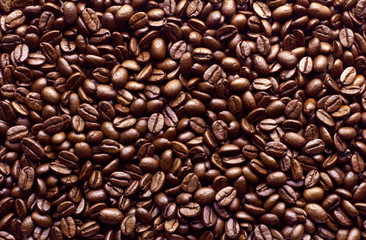 roasted coffee beans, brown coffee bean for background and textu