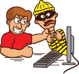 Internet Hacker Caught and Strangled Out of Computer Monitor Cartoon Illustration